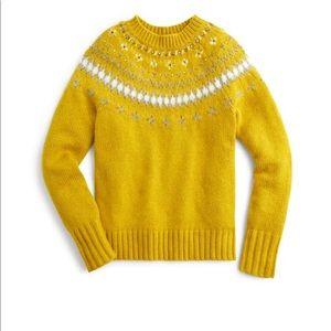 J. Crew Sweaters - JCrew CHARTREUSE SLATE IVORY sweater Large